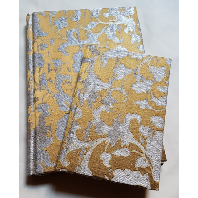 Rubelli Fabric Covered Journal Hardcover Notebook Silk Jacquard Bronze & Silver Les Indes Galantes Pattern