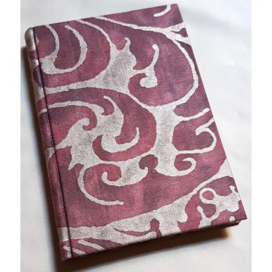Carnet de Notes Couverture Tissu Fortuny Caravaggio Bordeaux et Or
