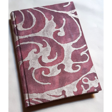 Fortuny Fabric Covered Journal Hardcover Notebook Deep Burgundy & Silvery Gold Caravaggio Pattern