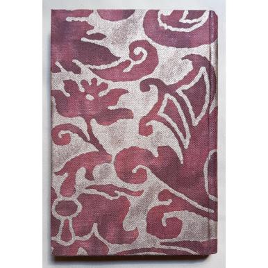 Quaderno con Copertina Rivestita in Tessuto Fortuny Caravaggio Bordeaux e Oro