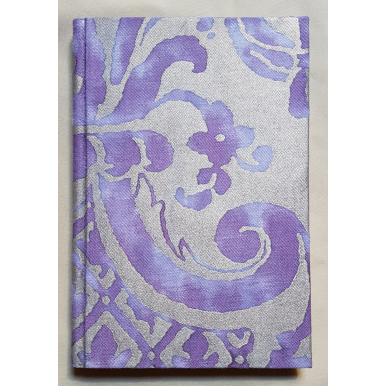 Fortuny Fabric Covered Journal Hardcover Notebook Royal Purple & Silvery Gold Carnavalet Pattern