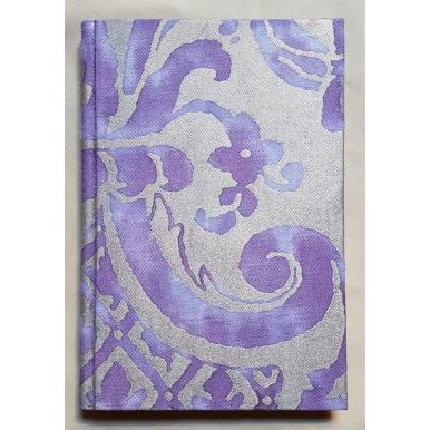 Quaderno con Copertina Rivestita in Tessuto Fortuny Carnavalet Viola e Oro