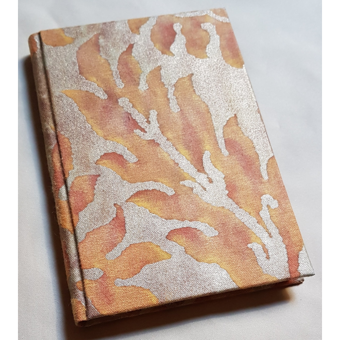 Fortuny Fabric Covered Journal Hardcover Notebook Burnt Apricot & Silvery Gold Barberini Pattern