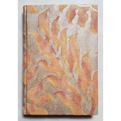 Quaderno con Copertina Rivestita in Tessuto Fortuny Barberini Arancio e Oro