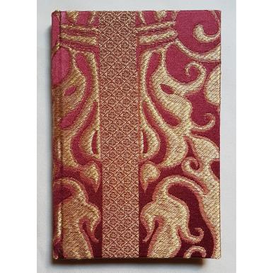 Carnet de Notes Couverture Tissu Lampas de Soie Rubelli Belisario Rouge et Or