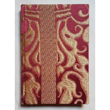 Rubelli Fabric Covered Journal Hardcover Notebook Silk Lampas Ruby Red & Gold Belisario Pattern