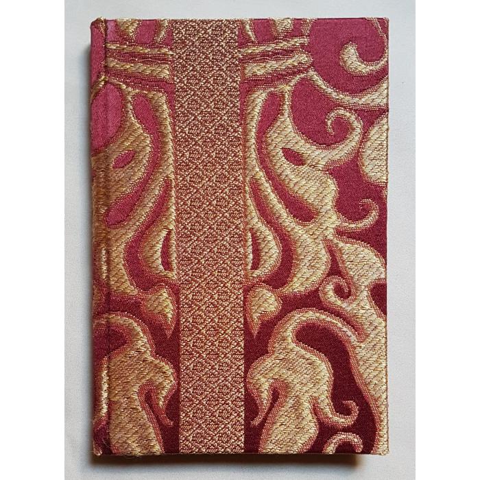Quaderno con Copertina Rivestita in Tessuto Lampasso di Seta Rubelli Belisario Rosso Rubino e Oro