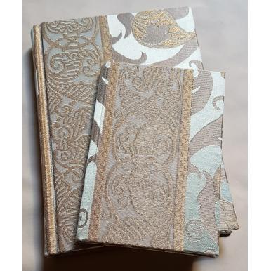 Quaderno con Copertina Rivestita in Tessuto Lampasso di Seta Rubelli Vignola Verde e Oro