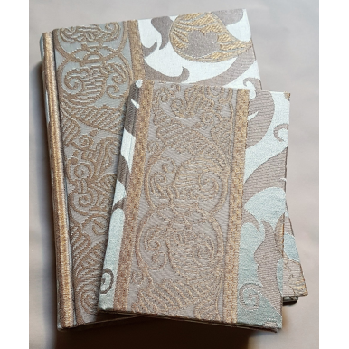 Rubelli Fabric Covered Journal Hardcover Notebook Silk Lampas Jade Green & Gold Vignola Pattern