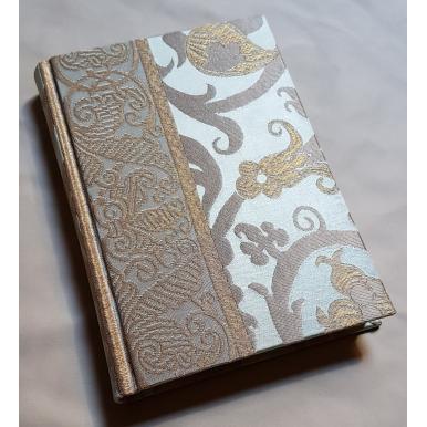Rubelli Fabric Covered Journal Hardcover Notebook Silk Lampas Jade Green & Gold Vignola Pattern