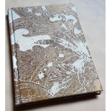 Quaderno con Copertina Rivestita in Tessuto Jacquard di Seta Rubelli Gritti Azzurro e Oro