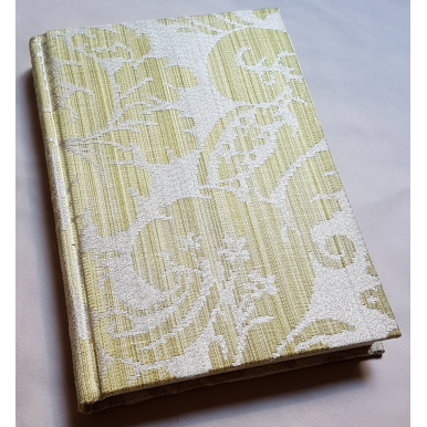 Rubelli Fabric Covered Journal Hardcover Notebook Silk Damask Olive Green Ruzante Pattern