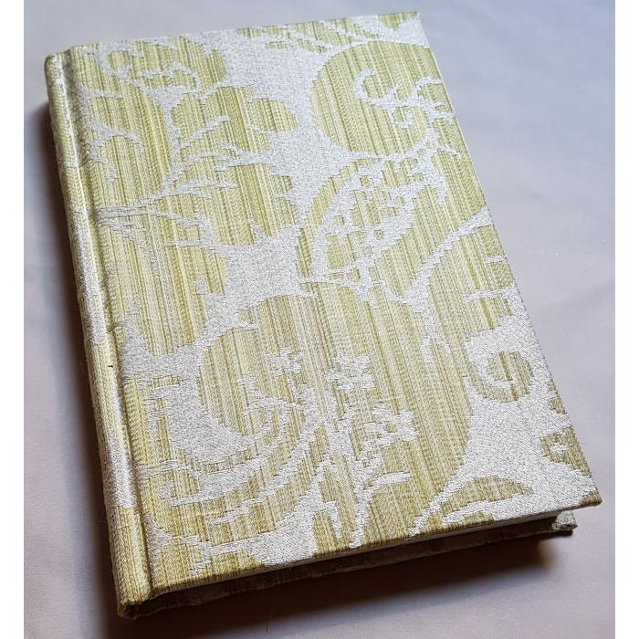 Quaderno con Copertina Rivestita in Tessuto Damasco di Seta Rubelli Ruzante Verde