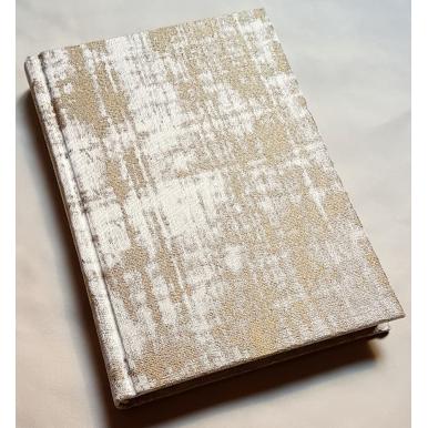 Quaderno con Copertina Rivestita in Tessuto Jacquard Rubelli Venier Sabbia e Oro