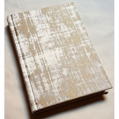 Rubelli Fabric Covered Journal Hardcover Notebook Jacquard Sand & Gold Venier Pattern