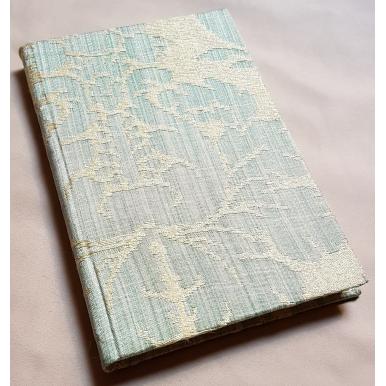 Quaderno con Copertina Rivestita in Tessuto Damasco di Seta Rubelli Ruzante Azzurro