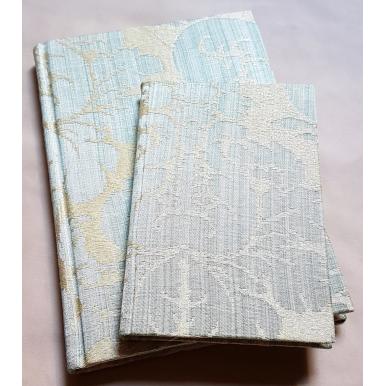 Carnet de Notes Couverture Tissu Damas de Soie Rubelli Ruzante Bleu Ciel