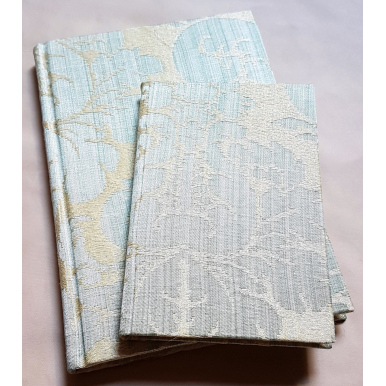 Rubelli Fabric Covered Journal Hardcover Notebook Silk Damask Aqua Blue Ruzante Pattern