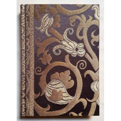 Carnet de Notes Couverture Tissu Lampas de Soie Rubelli Vignola Ébène et Or