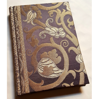 Rubelli Fabric Covered Journal Hardcover Notebook Silk Lampas Ebony & Gold Vignola Pattern
