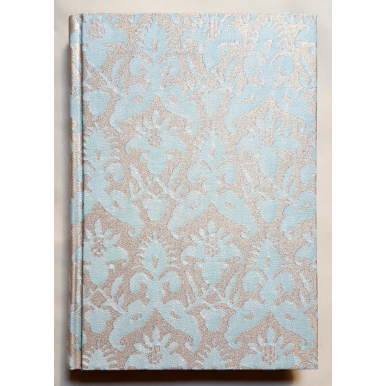 Carnet de Notes Couverture Tissu Fortuny Delfino Aquamarine et Or