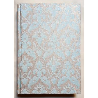 Quaderno con Copertina Rivestita in Tessuto Fortuny Delfino Acquamarina e Oro