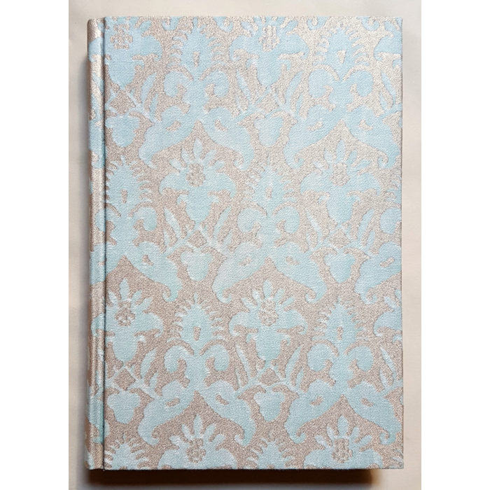 Fortuny Fabric Covered Journal Hardcover Notebook Aquamarine & Silvery Gold Delfino Pattern