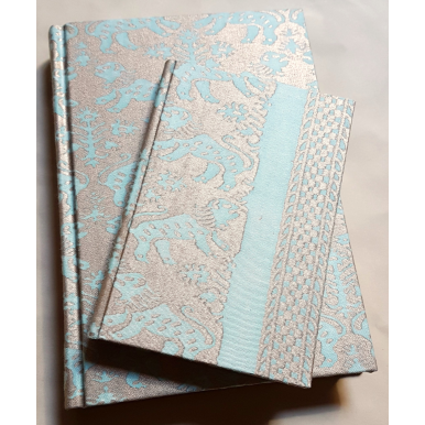 Carnet de Notes Couverture Tissu Fortuny Richelieu Aquamarine et Or
