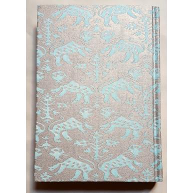 Quaderno con Copertina Rivestita in Tessuto Richelieu Acquamarina e Oro