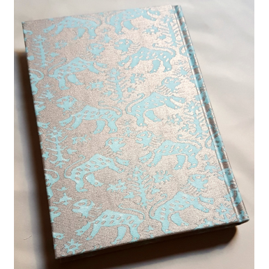 Fortuny Fabric Covered Journal Hardcover Notebook Aquamarine & Silvery Gold Richelieu Pattern