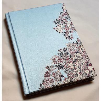 Carnet de Notes Couverture Tissu Lampas de Soie Rubelli Sherazade Bleu Ciel