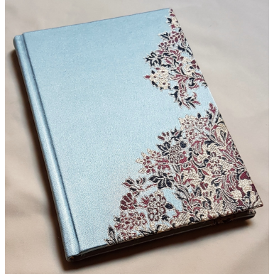 Rubelli Fabric Covered Journal Hardcover Notebook Silk Lampas Blue Sherazade Pattern