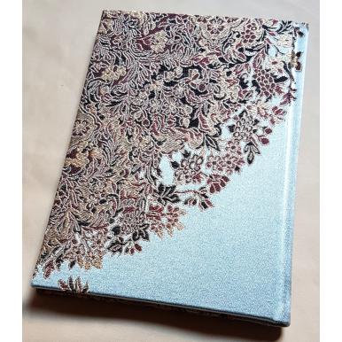 Quaderno con Copertina Rivestita in Tessuto Lampasso di Seta Rubelli Sherazade Azzurro