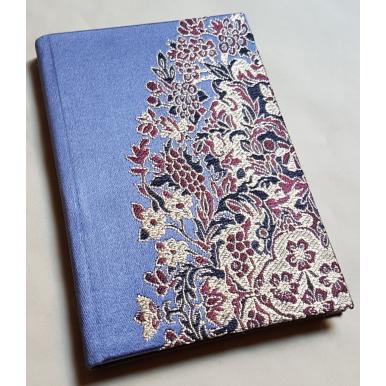 Carnet de Notes Couverture Tissu Lampas de Soie Rubelli Sherazade Bleu Violet