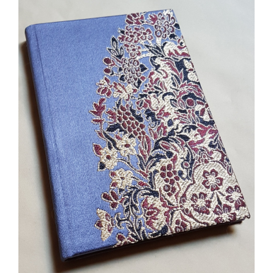 Rubelli Fabric Covered Journal Hardcover Notebook Silk Lampas Blue Purple Sherazade Pattern