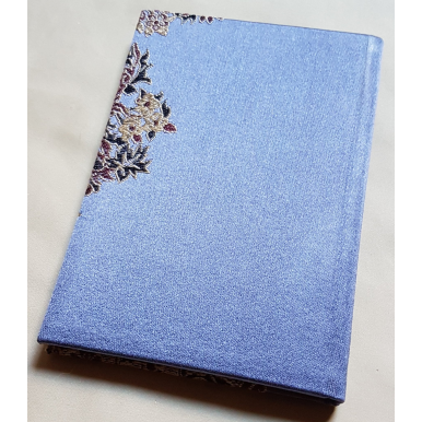Quaderno con Copertina Rivestita in Tessuto Lampasso di Seta Rubelli Sherazade Blu Viola
