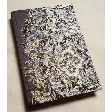 Rubelli Fabric Covered Journal Hardcover Notebook Silk Lampas Brown Sherazade Pattern