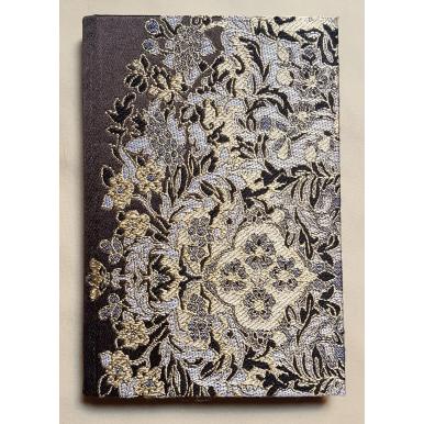 Quaderno con Copertina Rivestita in Tessuto Lampasso di Seta Rubelli Sherazade Marrone