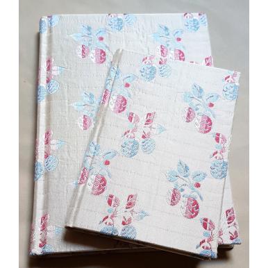 Carnet de Notes Couverture Tissu Liseré de Soie Rubelli Fragole