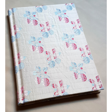 Rubelli Fabric Covered Journal Hardcover Notebook Silk Liseré Fragole Pattern