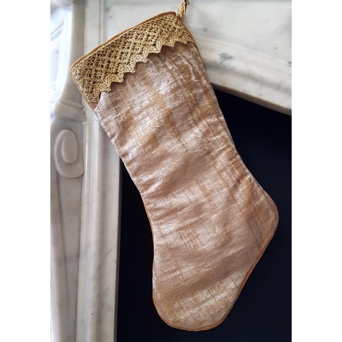 Luxury Christmas Stocking Gold Jacquard Rubelli Venier Pattern