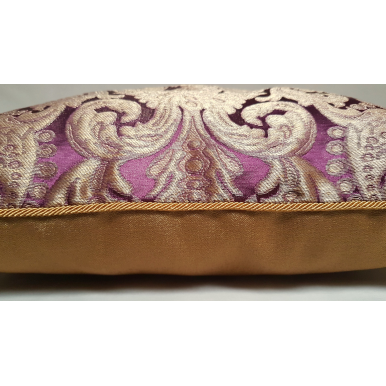 Lumbar Throw Pillow Cushion Cover in Rubelli Tebaldo Amethyst Silk Brocatelle Fabric