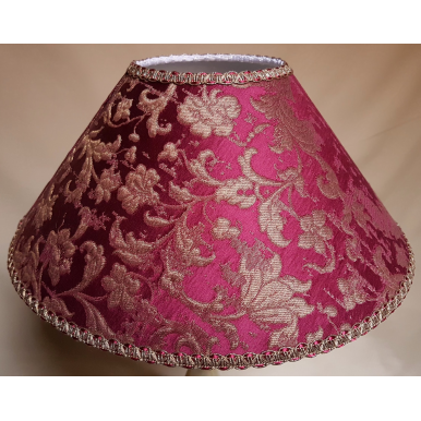 Coolie Empire Lamp Shade Amethyst and Gold Silk Jacquard Rubelli Fabric Les Indes Galantes Pattern