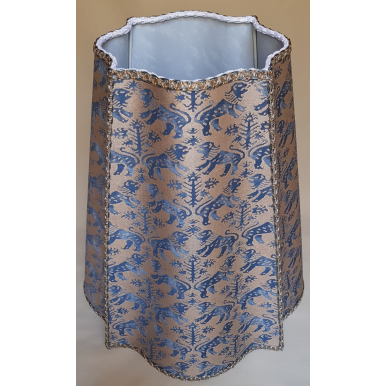 Abat Jour Florentin Tissu Imprimé à la Main Fortuny Richelieu Bleu et Or