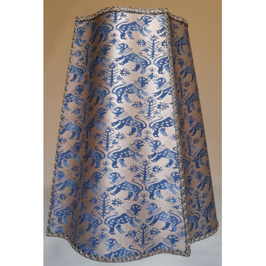 Conical Fancy Square Lamp Shade Fortuny Fabric Indigo Blue & Gold Richelieu Pattern