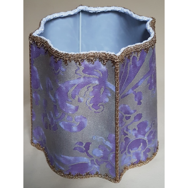 Paralume Fiorentina Tessuto Fortuny Carnavalet Viola e Oro