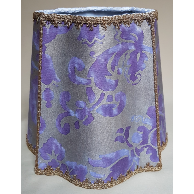 Fancy Square Lampshade Fortuny Fabric Royal Purple & Silvery Gold Carnavalet Pattern