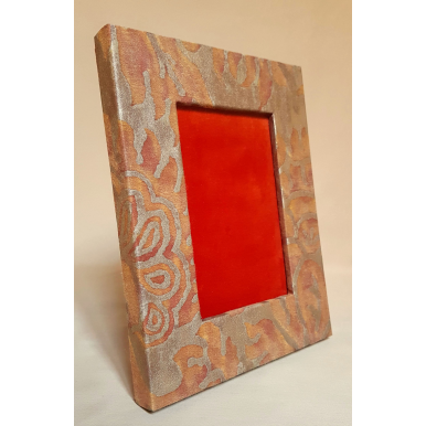 Fortuny Fabric Covered Tabletop Picture Photo Frame Burnt Apricot & Silvery Gold Barberini Pattern