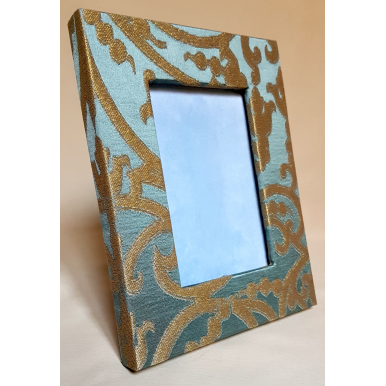 Rubelli Silk Jacquard Fabric Covered Tabletop Picture Photo Frame Aqua Blue & Gold Serlio Pattern