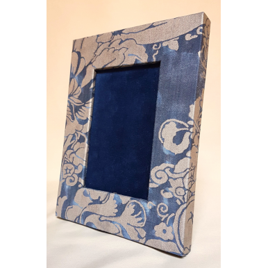 Fortuny Fabric Covered Tabletop Picture Photo Frame Midnight Blue & Silvery Gold Dandolo Pattern